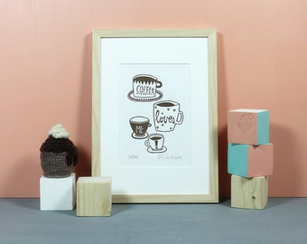 Coffee Loves Me | Linoldruck, Linolschnitt, Grafik, Druckgrafik, Print, Druck, Original, Küche, Linoleum, Kaffee, Café, Knallbraun, A5