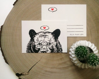 Black Bear with Heart Illustration Postcard