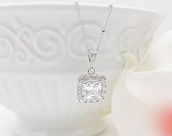 Princess Cut Cubic Zirconia Bridal Necklace Rhodium Cushion Cut Square CZ Bridal Necklace Emerald Cut Cz Bridal Necklace FREE US Shipping