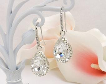 Sterling Silver Swarovski Clear Crystal Teardrop Bridal Earrings Swarovski Bridesmaid Crystal Teardrop Earrings Bridesmaid Gift Free US Ship
