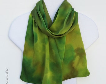 Handpainted silk scarf, Abstract green brown silk, Silk charmeuse scarf, Green gold hand dyed silk scarf, Artist painted silk, Gift for her