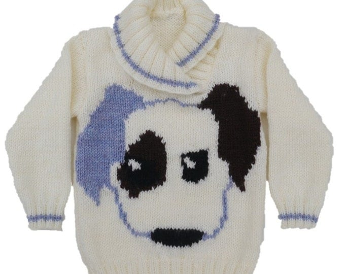 Childrens Knitting Pattern, Sweater Knitting Pattern for Boy and Girl, Puppy Dog Knitted Sweater, Children's jumper knitting pattern