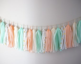 Tissue Paper Tassel Garland DIY Kit or Completed Garland - 2m - Peach (with Gold foil polkadots)