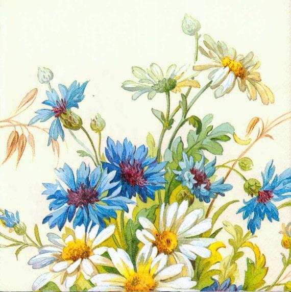 Decoupage Napkins Daisies And Cornflowers Floral Napkins