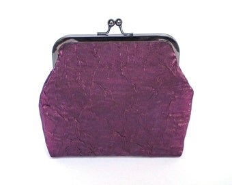 Clutch Bag, Kisslock Purse, Frame Purse, Evening Bag, Wedding Bag, Bridesmaid Bag, Plum Fabric Clutch, Black Nickel Frame, UK Seller