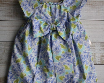 Blue Flower Peasant Dress - Size 6-12 months