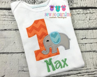 1st Birthday Elephant Birthday Shirt - Baby Boy 1st Birthday Outfit - Elephant Birthday Outfit