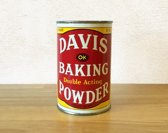 Davis Baking Powder Tin / Food Can Tin Container / Country Primitive Rustic / Kitchen Decor / Vintage Advertising / R.J. Reynolds Foods