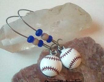 Blue Baseball Earrings,Baseball Season,Summer Outdoors,Sports Lover Gift,Sports Mom,National Pastime,Sports Teams Earrings,Summer Party