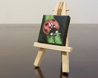 Ladybug Oil Painting with Easel, Miniature Art