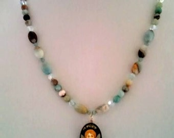 Black gold amazonite necklace with Swarovski crystals and a hand-painted cherub pendant