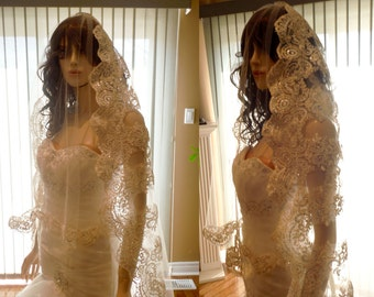 Lace cathedral veil with blusher - removeable
