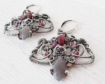 Silver Earrings,  Wire jewelry, wire wrapping earrings, ruby jewelry, gift ideas