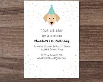 Custom Dog Theme Birthday Invitation, Children's Birthday Invite, Cute Baby Birthday Invite, Puppy Birthday Invite, Dog Birthday Invitation