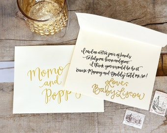 Glitter Embossed, Handwritten Calligraphy Godparent Card with Poem Inscription and Personalized Signature with an Addressed Envelope
