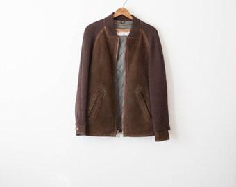 vintage 60s brown suede quilted jacket