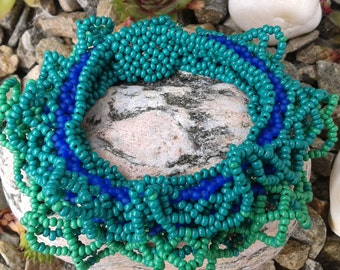 Beaded cuff bracelet-Blue and green seed beads.
