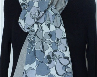 Long scarf in bold floral design-Charcoal.