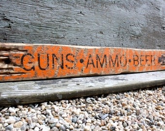 Guns Ammo Beer Rustic Distressed Wood Hunting Hunter Sign