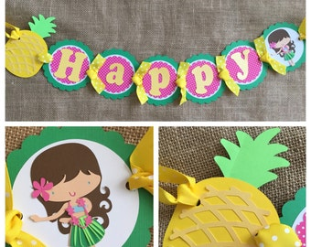Luau Birthday Banner, Luau Party Banner, Pineapple Birthday Banner , Luau Birthday Decorations, Hula Girl Birthday Banner