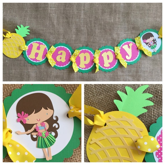 Luau Birthday Banner Luau Party Banner Pineapple Birthday