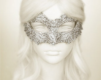 Sequined Silver Masquerade Mask With Rhinestones And Embroidery - Embellished Venetian Style Silver Masquerade Ball Mask