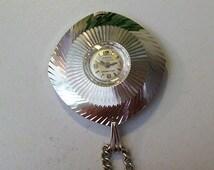 Vintage 1960's ORVIN Pendant Watch – 17 Jewels – Manual Wind – Silver Tone Aluminum Case – Swiss Movement – Shock Resistant -