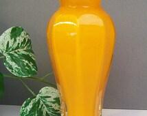 Vintage Cased Glass Vase in White, Orange and Clear – Ruffled Edge – Octagon Paneled – Tapered - Autumn Orange -