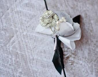 Silver Brooch Boutonniere Groom Groomsmen Boutonniere, Brooch Button Hole, Rose Boutonniere, Ivory Grey