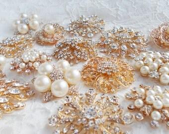 DIY Brooch Bouquet Kit - 15 Brooch Broach, Rose Gold Champagne Brooch Bouquet Pearl, Handmade Wedding, Wedding Supplies