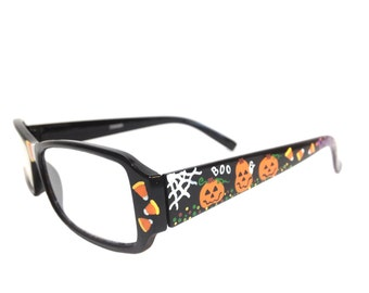 Women's 1.0 Strength Hand Painted Halloween Reading Glasses with Spider Webs, Pumpkins, Candy Corn, Friendly Ghosts, and Trick or Treat
