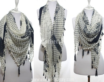 Off-White Navy Lace Tassel Square Bohemian Scarf Spring Summer Fashion Woman Accessories Mother's Day Gift Ideas For Her Girlfriends For Mom
