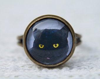 Cat Ring, Black Cat. Black Ring, Animal Ring, Adjustable Ring, Black Ring, Black and White, Gifts for Her, Simple Ring, Everyday Jewellery