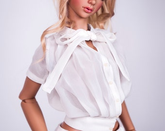 White Bow Detail Chiffon Blouse