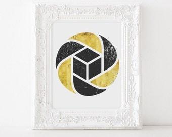 Abstract Geometric Art - Gold Geometric Art - Black and Gold - Aperture - Gold Abstract Art - Gold Foil Prints - Wall Art - Office Decor