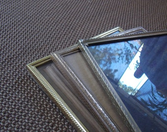VINTAGE LISTING: Lot of Brass Frames, Three Frames, 8x10, Instant Collection, Great Gift