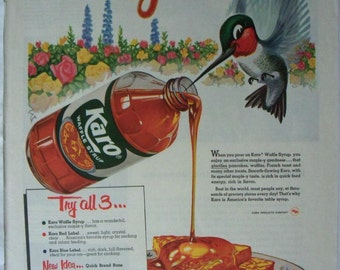 Karo Waffle Syrup Ad ~ Happy Hummingbird ~ Original Magazine Advertising ~ 1950's