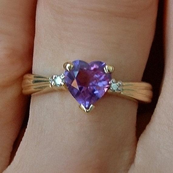 Vintage 14k Gold Diamond Amethyst Heart Ring Hallmarked Bridal