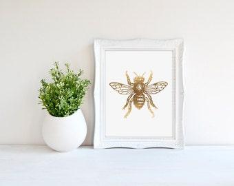 Bumble Bee Poster, Gold Bee Print, Real Gold Foil Print, Nature Poster, Bug Wall Art, Chic Gold Print, Modern Gold Art, Minimal Wall Decor