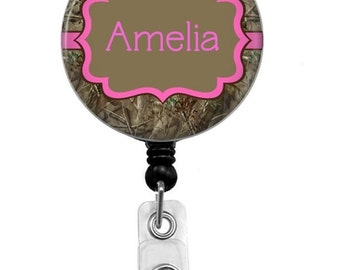 Badge Reel - Id Badge Holder - Badge Holder - ID Badge Reel - Retractable Badge - Camoflauge Name Badge Holder - Nurse Badge Reel -