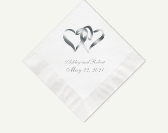 Silver Foil Hearts Wedding Cocktail Napkins | Personalized White Or Color Cocktail Napkins | Custom Appetizer And Dessert Napkins