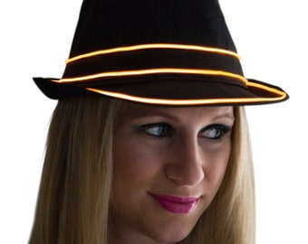 Light Up Fedora Hat, Black, Glow in the Dark, Tron, Rave Wear, LED