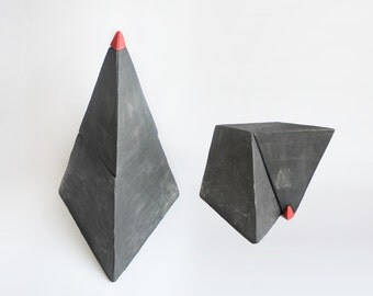 transformer bedside table - lamp recycled materials furniture paper mache pyramid art sculpture geometric triangle minimal design black red