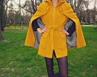 Yellow Cape, Wool Cape, Hooded Cape, Hooded Coat