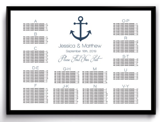 Nautical Wedding Seating Chart Poster Template Printable – Seating Chart Poster Template