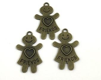 3 friends charms bronze tone 39mm #CH 304