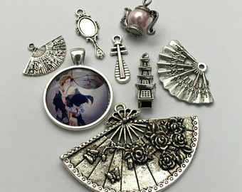 8 Japaneese charms collection antique silver  #ENS A 278