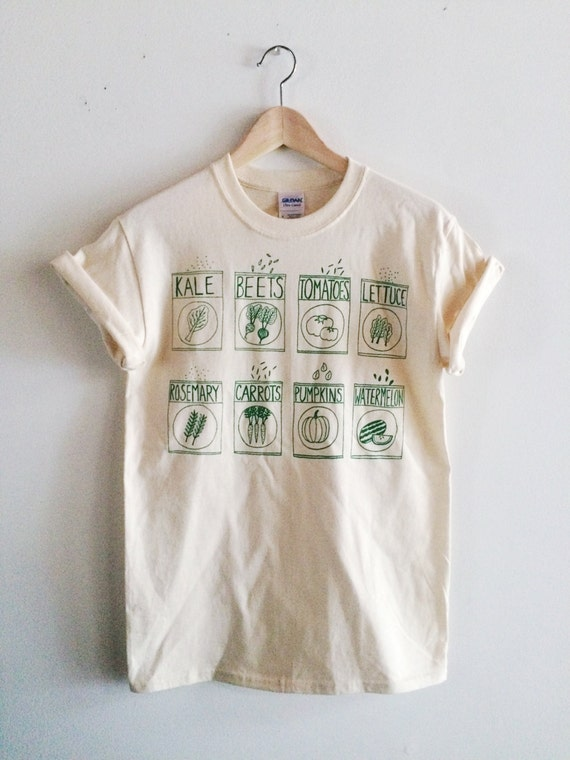 Garden seeds screen printed t shirt vegetable print by for Screen print on t shirts