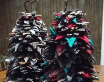 Felted Wool Star Stacked Pine Trees; Upcycled Felted Wool Christmas Trees; Holiday Trees in Felted Wool