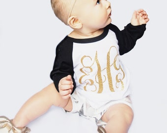 Girl's Monogram Shirt - Girls Monogram Shirt - Girl's Monogram Raglan - Toddler Girl - Baby Girl - Monogram - Southern - Glitter Monogram